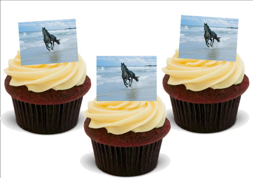 BLACK HORSE running on beach 12 Edible Standup Premium Wafer Cake Toppers