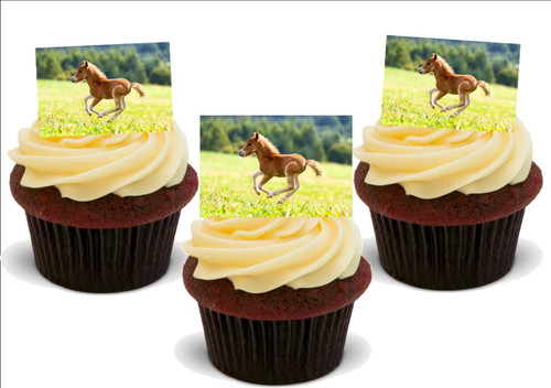 BROWN FOAL running in field 12 Edible Standup Premium Wafer Cake Toppers