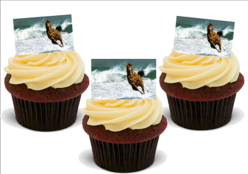 BROWN HORSE running in sea 12 Edible Standup Premium Wafer Cake Toppers