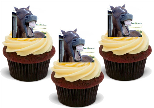 FUNNY LAUGHING HORSE 12 Edible Standup Premium Wafer Cake Toppers