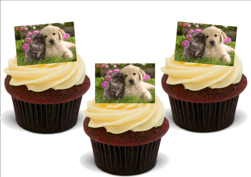 CUTE PUPPY WITH KITTEN 12 Edible Standup Premium Wafer Cake Toppers