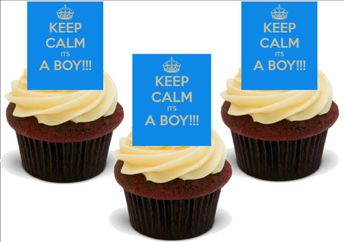 BLUE KEEP CALM IT'S A BOY! 12 Edible Standup Premium Wafer Cake Toppers