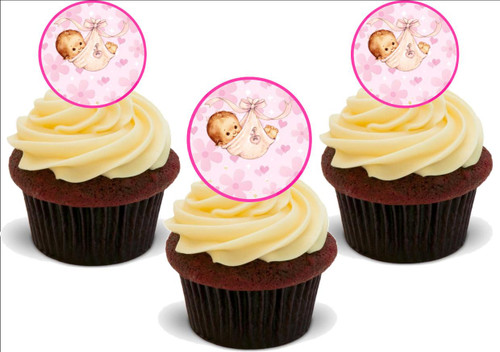 BABY GIRL PINK 12 Edible Standup Premium Wafer Cake Toppers
