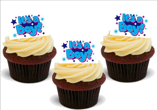 IT'S A BOY! BLUE BANNER 12 Edible Standup Premium Wafer Cake Toppers