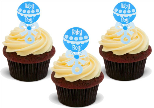 BABY BOY! BLUE BABIES RATTLE 12 Edible Standup Premium Wafer Cake Toppers