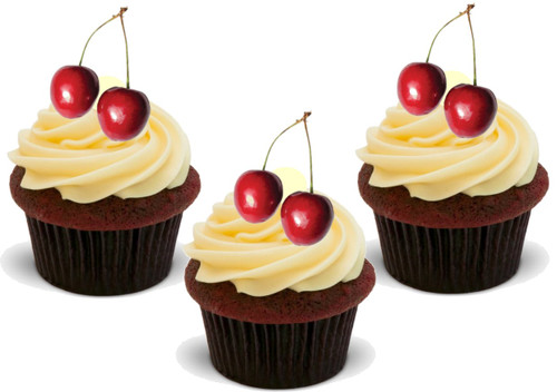 Cherries (Great for on Cherry Cupcakes!) 12 Edible Standup Premium Wafer Cake Toppers