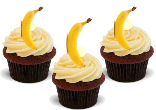 Banana (Great for on Banana Cupcakes!) 12 Edible Standup Premium Wafer Cake Toppers