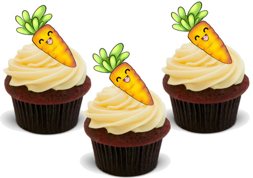 Carrot (Great for on Carrot Cupcakes!) 12 Edible Standup Premium Wafer Cake Toppers