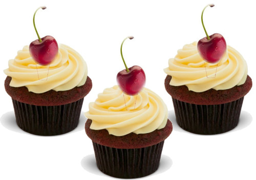 Cherry (Great for on Cherry Cupcakes!) 12 Edible Standup Premium Wafer Cake Toppers