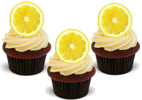 Lemon Slice (Great for on Lemon Cupcakes!) 12 Edible Standup Premium Wafer Cake Toppers