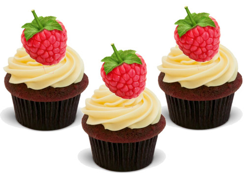 Raspberry (Great for on Raspberry Cupcakes!) 12 Edible Standup Premium Wafer Cake Toppers
