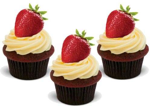Strawberry (Great for on Strawberry Cupcakes!) 12 Edible Standup Premium Wafer Cake Toppers