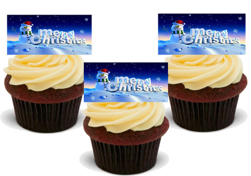 MERRY XMAS SNOWMAN 12 Edible Standup Premium Wafer Cake Toppers