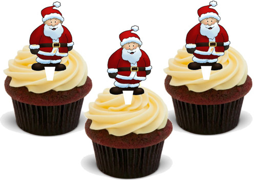SANTA CLAUS ST NICHOLAS FATHER CHRISTMAS 12 Edible Standup Premium Wafer Cake Toppers
