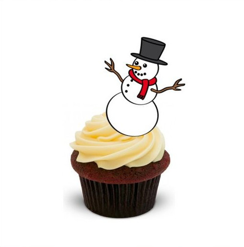 CUTE CHRISTMAS SNOWMAN 12 Edible Standup Premium Wafer Cake Toppers