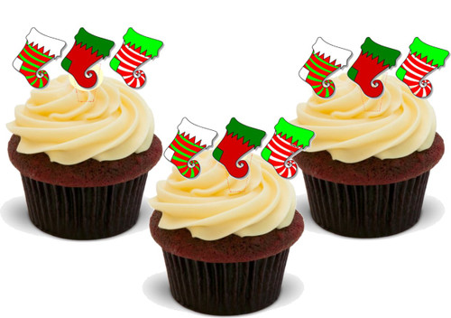 BRIGHT CHRISTMAS STOCKINGS 12 Edible Standup Premium Wafer Cake Toppers