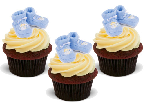 BABY BOY BLUE BOOTIES 12 Edible Standup Premium Wafer Cake Toppers