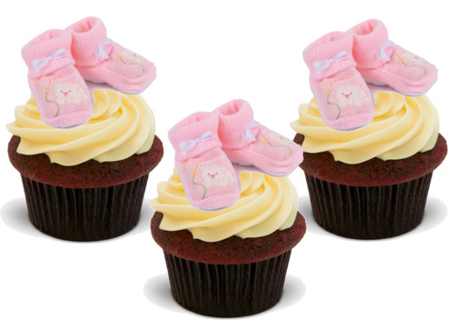 BABY GIRL PINK BOOTIES 12 Edible Standup Premium Wafer Cake Toppers