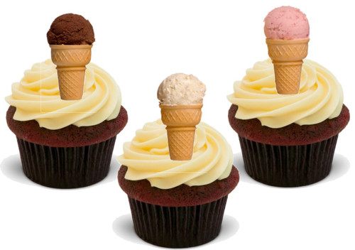 Vanilla Strawberry & Chocolate Ice-Cream Cones 12 Edible Standup Premium Wafer Cake Toppers