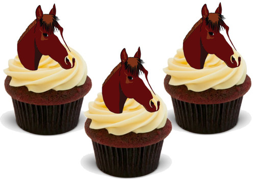 Brown with White Horses Head Cutout 12 Edible Standup Premium Wafer Cake Toppers