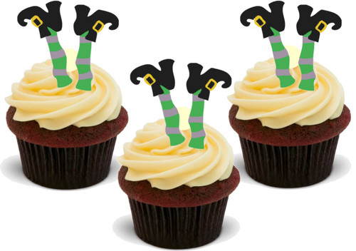 FUNNY HALLOWEEN WITCH LEGS -   Standups 12 Edible Standup Premium Wafer Cake Toppers