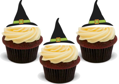 HALLOWEEN WITCHES HAT (Green band) -   Standups 12 Edible Standup Premium Wafer Cake Toppers