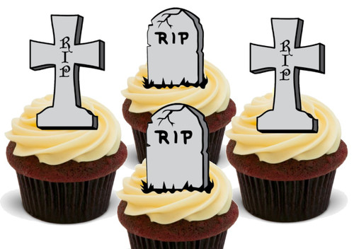 **SPECIAL OFFER** £1.99!! HALLOWEEN RIP GRAVESTONE CROSS MIX -   Standups 12 Edible Standup Premium Wafer Cake Toppers
