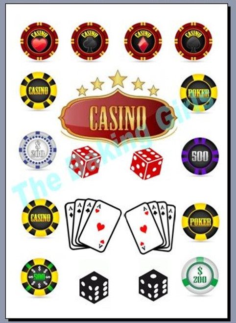 CASINO PARTY MIX - Standups  Edible Standup Premium Wafer Cake Toppers