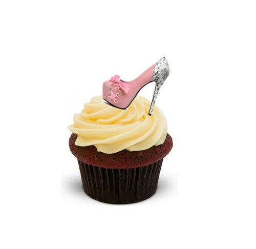 LADIES SHOES RED/PINK/SILVER - Standups 12 Edible Standup Premium Wafer Cake Toppers