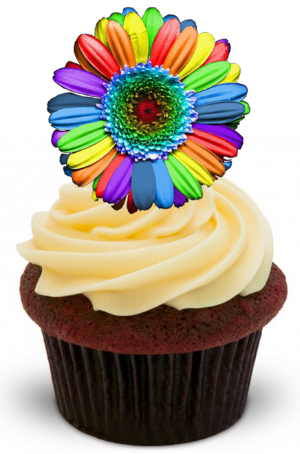 RAINBOW FLOWER -   Standups 12 Edible Standup Premium Wafer Cake Toppers