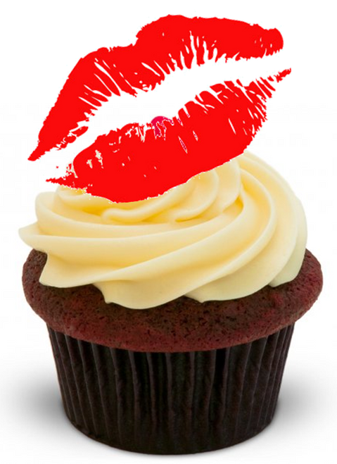 RED LIPS KISS Sexy Valentine -   Standups 12 Edible Standup Premium Wafer Cake Toppers