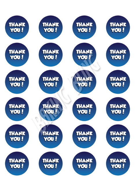 THANK YOU Blue & White Cupcake Cake Toppers