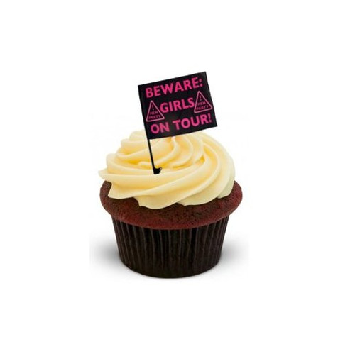 GIRLS NIGHT OUT HEN PARTY FLAG - Standups 12 Edible Standup Premium Wafer Cake Toppers