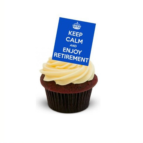 BLUE KEEP CALM HAPPY RETIREMENT - Standups 12 Edible Standup Premium Wafer Cake Toppers