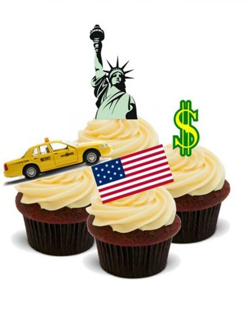 AROUND THE WORLD! NEW YORK, NEW YORK!  - Standups 12 Edible Standup Premium Wafer Cake Toppers