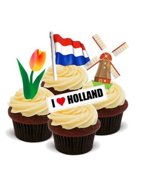 AROUND THE WORLD! HOLLAND, AMERSTERDAM  - Standups 12 Edible Standup Premium Wafer Cake Toppers
