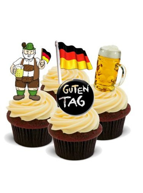AROUND THE WORLD! GERMANY  - Standups 12 Edible Standup Premium Wafer Cake Toppers