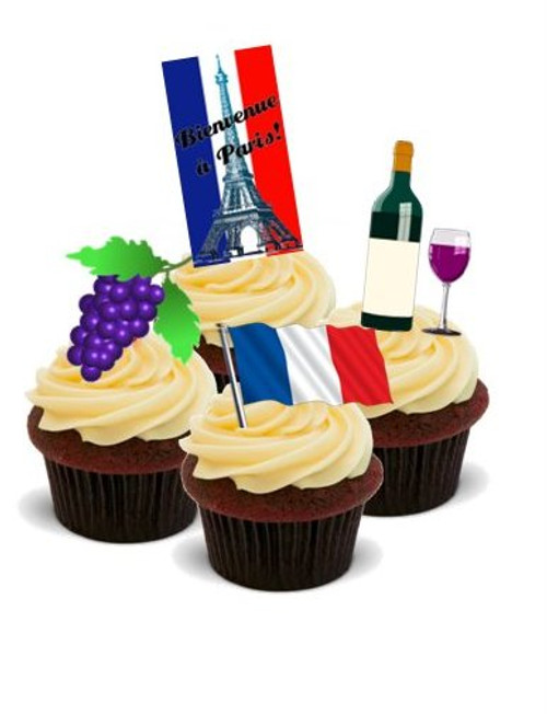 AROUND THE WORLD! FRANCE, PARIS  - Standups 12 Edible Standup Premium Wafer Cake Toppers