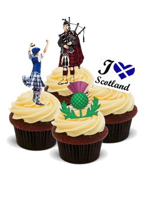 AROUND THE WORLD! SCOTLAND, EDINBURGH  - Standups 12 Edible Standup Premium Wafer Cake Toppers