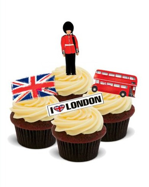 AROUND THE WORLD! ENGLAND, LONDON  - Standups 12 Edible Standup Premium Wafer Cake Toppers