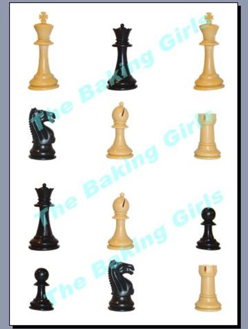 CHESS PIECES - Standups 12 Edible Standup Premium Wafer Cake Toppers