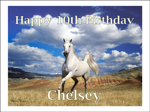 PERSONALISED WHITE HORSE SCENE  BIRTHDAY A4 Icing Cake Topper