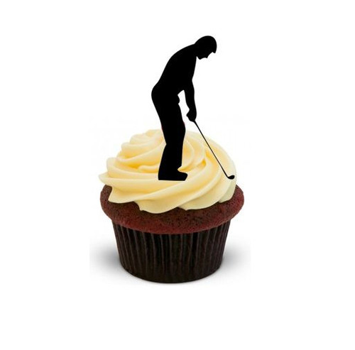 Golfer Silhouette -   Standups 12 Edible Standup Premium Wafer Cake Toppers