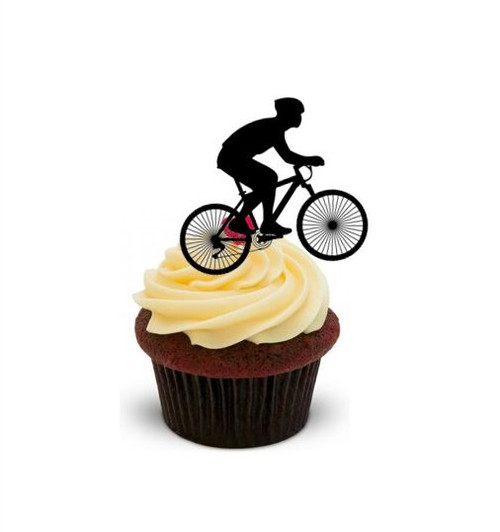 Cycling Silhouette -   Standups 12 Edible Standup Premium Wafer Cake Toppers