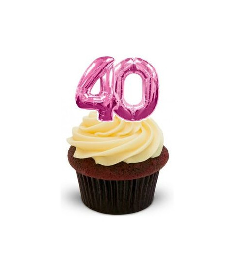 40TH BIRTHDAY PINK BALLOONS -   Standups 12 Edible Standup Premium Wafer Cake Toppers