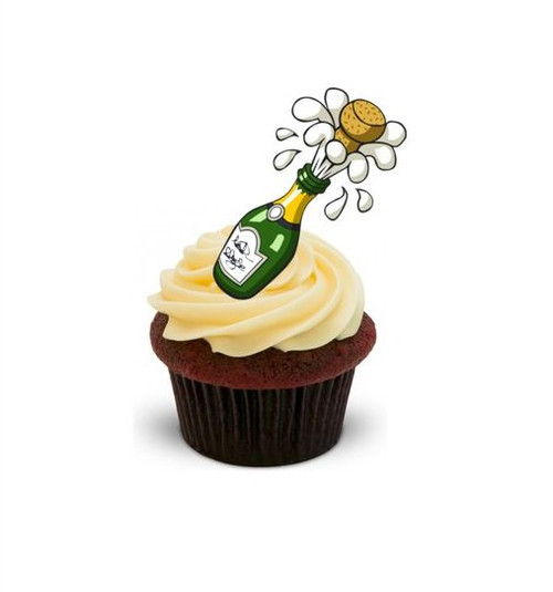 EXPLODING CHAMPAGNE (style)  -   Standups 12 Edible Standup Premium Wafer Cake Toppers