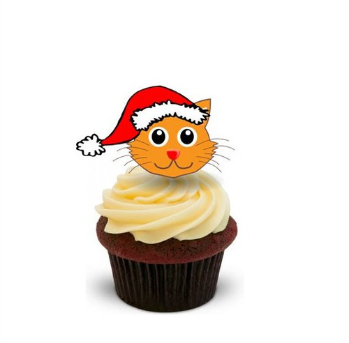 CAT IN SANTA HAT  -   Standups 12 Edible Standup Premium Wafer Cake Toppers