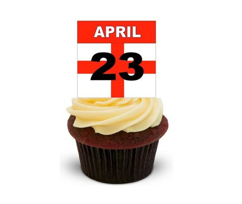 APRIL 23 ST GEORGES DAY FLAG -   Standups 12 Edible Standup Premium Wafer Cake Toppers