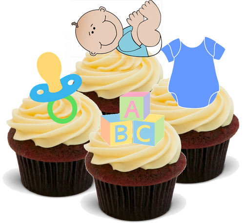 BABY BOY -   Standups 12 Edible Standup Premium Wafer Cake Toppers