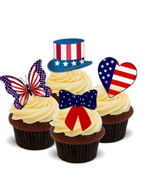 AMERICAN MIX -   Standups 12 Edible Standup Premium Wafer Cake Toppers